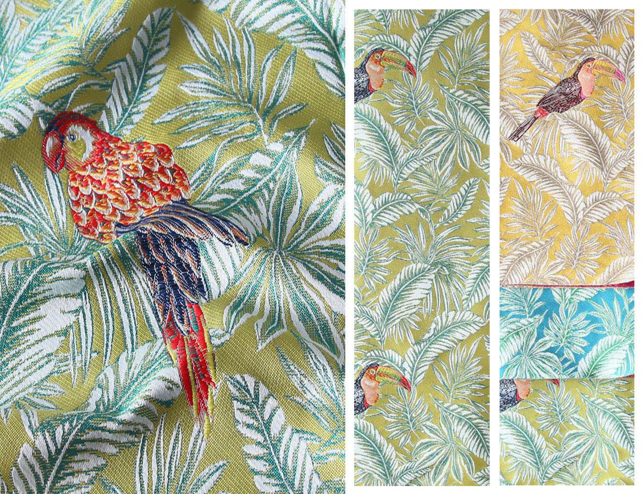Натуральная ткань с цветочными узорами Жаккард