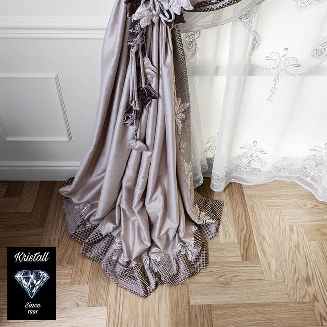 Шторы ART NOUVEAU со сливочной сатиновой подкладкой обработаны L-образным кантом
